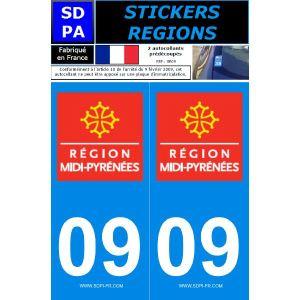 """SDPA SR09 - 2 autocollants pour plaque d'immatriculation """"Département 09 - Région Midi-Pyrénées"""""""