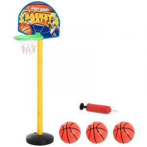 Homcom Panier De Basket-Ball Sur Pied Avec Poteau Panneau + 3 Ballons + Pompe Hauteur Réglable 0,60 - 1,32 M Jaune Noir 10