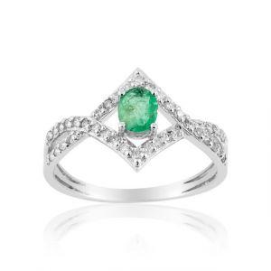 Cleor Bague en Or 750/1000 Argenté et Emeraude,Diamant Vert