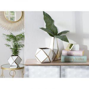 Beliani Vase blanc en céramique OTEO