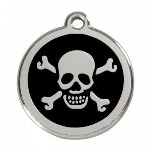 RedDingo Médaille pour Chien Motif Tête de Mort Noir 38 mm