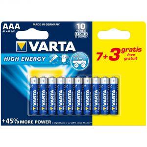 Varta Blister de 10 piles alcalines High Energy AAA/LR03