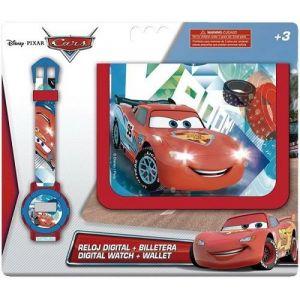 Coffret montre digitale pour enfant et portefeuille Disney Cars