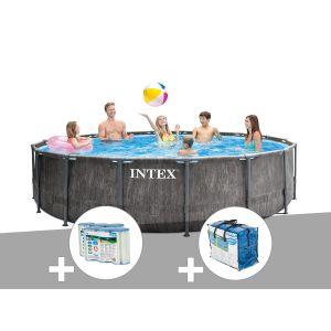 Intex Kit piscine tubulaire Baltik ronde 5,49 x 1,22 m + 6 cartouches de filtration + Bâche à bulles