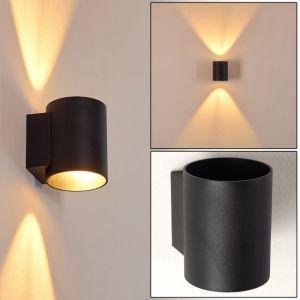 Hofstein Applique murale Letsbo en métal noir, lampe d'intérieur au style épuré créant un effet lumineux au mur, pour une ampoule G9 max 40 Watt, compatible ampoules LED