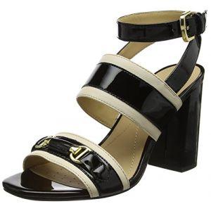 Geox D Audalies High Sandalo C, Sandales Bride Cheville Femme, Noir (Skin/Black), 36 EU
