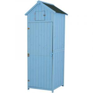 Outsunny Armoire abri de Jardin Remise pour Outils 3 étagères 2 Porte loquets Toit Pente bitumé 77L x 54l x 179H cm pin Massif traité Bleu