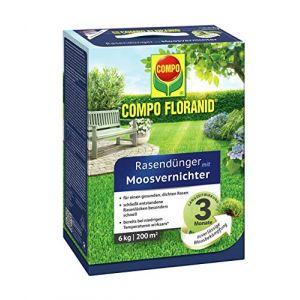 Compo Fertilisant pour gazon 13426 Floranid, avec destructeur de mousse, 12 kg pour 400 m² 6 kg Transparent