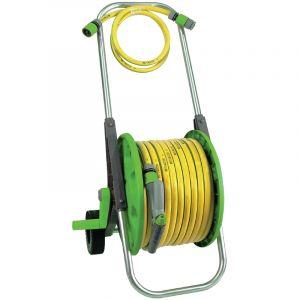 Tuyau d'arrosage avec chariot tuyau de 30 m 13 mm / Couleur: Jaune et vert / Référence: *06801 BISK