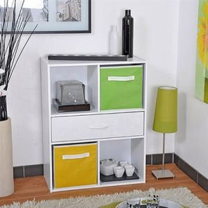 Rangement Moli 4 niches et 1 tiroir avec étagère 4 niches et 1 tiroir