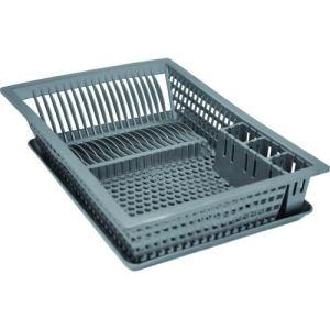 Aluminium et plastique Egouttoir à vaisselle avec plateau en plastique (35,5 x 48 cm)