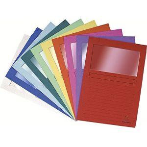 Exacompta 50250E - Paquet de 25 chemises à fenêtre FOREVER, coloris vifs assortis (10)