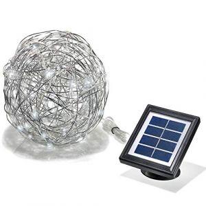 Esotec Lampe décorative solaire Ampoule LED Wire Ball blanc lumière du jour aluminium