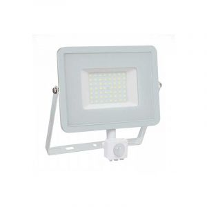 V-TAC 50W avec détecteur de Mouvement Projecteur LED de sécurité extérieur étanche avec Corps Blanc Samsung LED Verre Blanc IP65 6400K Blanc 4250 Lumens