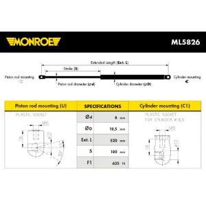 Monroe ML5826 Ressort pneumatique, coffre - 1 pièce