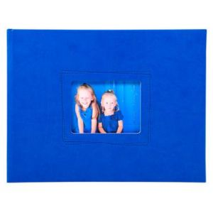 Exacompta 11327E - Album photos Softissimo 28,5x22 cm, 30p. blanches/60 photos, reliure livre bleu