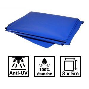 Toile de toit pour tonnelle et pergola 680g/m² bleue 8x5m PVC