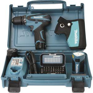 Makita DF330DWLX1 - Perceuse visseuse 10.8V 1.3Ah Ø10mm + 2 batteries + chargeur + coffret 30 embouts + Lampe LED