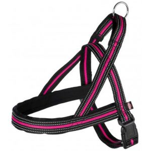 Trixie Fusion comfort harnais - M-L: 53-66 cm/25 mm, noir/rose