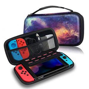 Fintie Pochette Portable Etui Rigide en EVA Zippée en Matériau Durable Anti-Choc Sac Coque pour la console Pour Nintendo Switch, Galaxy