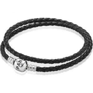 Pandora 59705CBK-D1 - Bracelet pour femme double tour en cuir et argent