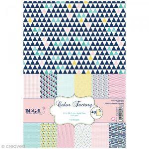 Toga 48 Feuilles à imprimés géométriques A4