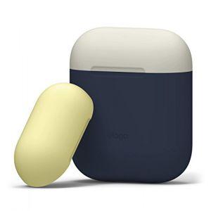 Elago Étui Duo Compatible avec Apple AirPods 1 & 2 (Témoin LED Non Visible) [Deux Capuchons] [Protection en Silicone] [Ajustement Parfait] - (Corps - Jean Indigo/Top - Blanc Classique, Jaune) (, neuf)
