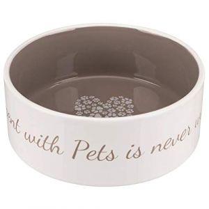 Trixie Écuelle céramique pet's Home - 1,4 l - ø 20 cm - Creme et Taupe - pour Chien
