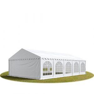 Intent24 TOOLPORT Tente Barnum de Réception 5x10 m ignifugee PREMIUM Bâches Amovibles PVC 500 g/m² blanc Cadre de Sol Jardin.FR