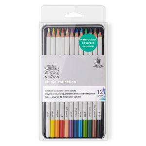 Winsor & Newton Set de 12 crayons de couleur aquarellables Studio