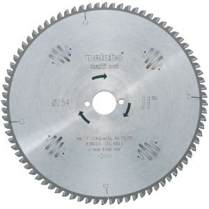 Metabo 628093000 Lame de scie circulaire HW/CT 254x30, 80 FZ/TZ, 5°