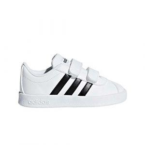 Adidas VL Court 2.0 CMF I - Chaussures de Tennis - Mixte Enfant - Blanc (Ftwbla/Negbas/Ftwbla) - FR: 20