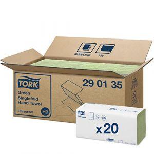 Tork 290135 Essuie-Mains pliés en V Universal / Compatible avec le système H3 / 1 pli / 20 x 200 feuilles (25 x 23 cm) / Vert