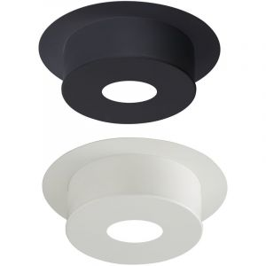 Poujoulat Plaque de finition pour conduit isolé inox/galva pour poêle à bois - Plaque ronde hauteur 12 cm - Diamètre : 180 mm - couleur : BLANC
