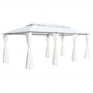 VidaXL Belvédère avec rideaux 600x298x270 cm Blanc 180 g/m²
