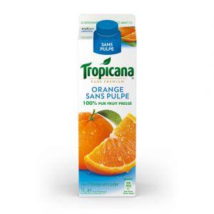 Tropicana Jus d'orange sans pulpe - 100% pur fruit pressé - La brique de 1L