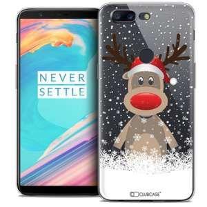 CaseInk Coque OnePlus 5T (6 ) Extra Fine Noël 2017 Cerf au Bonnet