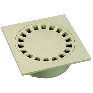 Wavin Siphon de cour - Dimensions : 150x150 - couleur : Gris clair - Sorties Ø 40-50-125 -