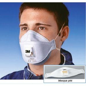3M Masque Aura 9312 anti-poussières pliable FFP1 avec soupape x10