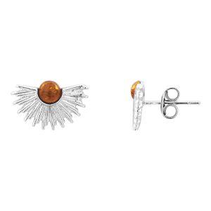 Cleor Puces d'oreilles en argent 925/1000 avec ambre - orange