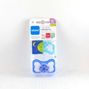 Mam 2 sucettes Air nuit silicone forme Papillon 18 mois +