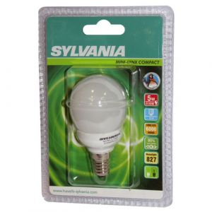 Sylvania Ampoule fluocompacte Mini-Lynx sphérique E27 - 9 W - blanc confort - 2 700 K - boîte - Fluocompacte sphérique, globe