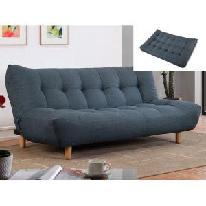 Canapé clic clac 3 places en tissu VINCENT Bleu