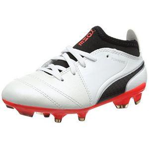 Puma One 17.3 FG Jr, Chaussures de Football Mixte Enfant, Blanc (White-Black-Fiery Coral), 33 EU