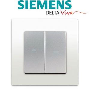 Siemens Interrupteur Volet Roulant Silver Delta Viva + Plaque Blanc