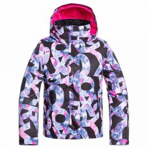Roxy Jetty Girl-Veste de Ski/Snowboard Fille 8-16 Ans, True Black Famous Alphabet, FR