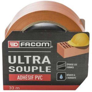Facom Adhésif PVC orange ultra souple 33m x 50mm - Pour l'étanchéité, le masquage, la protection, le maintien de bâche, les films de masquage et les jointages.
