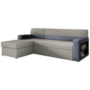 Comforium Canapé d'angle convertible 3 places en tissu gris clair et bleu avec coffre méridienne côté gauche