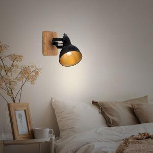 Briloner leuchten Applique spot noir doré bois 1xE14 BRILONER Wood & Style