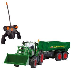 Dickie Toys Tracteur Farmer avec remorque radiocommandé